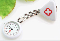 Hot Sale Stainless Steel Medical Doctor Brooch For Quartz Cross Nurse Silver Negative ions Pocket Watch 10pcs/lot