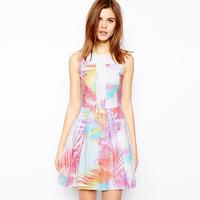 Hot New Designer Fashion  Women Colorful Palm Tree Print Skater Dress Chic Party Club Dresses  Plus Size
