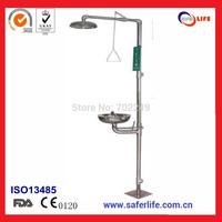 2014 wholesales emergency  safety stainless steel shower  & eye washer station without treadle eye wash system