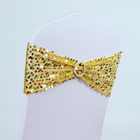 free shipping gold  spangle band for weddings/spandex band for banquet chairs
