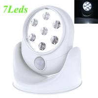 Cordless Motion Activated Sensor Light Wall Lamps 360 Degree 6V 7 LEDS  Rotation Light White Porch Lights