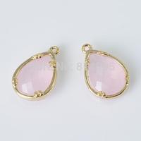 Bezel Gemstone Connectors - Rose gold pink-Imitation of zirconium-  Drop Shapes Links (10.2*15.5mm - 50pcs)