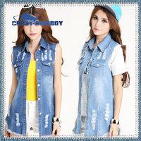 2014 spring summer jeans jacket for women clothing washed slim denim vest personality cardigan women long frayed vests ladies