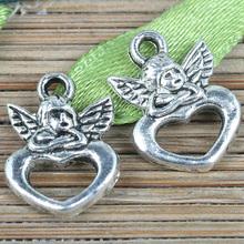 50pcs tibetan silver color Cupid Love design charms EF0272