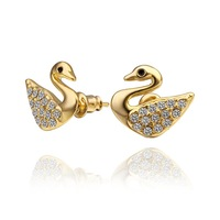 18K Earrings - E481 / 18K Gold Plated Fashion Swans Crystal Stud Earrings For women,  Free shipping, Fashion Jewelry 2014