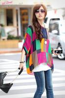 312 women new 2014 summer autumn maternity blouse shirt print stripe casual batwing chiffon blusa tops  4xl 5xl 6xl plus size