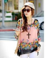 355 Exotic 3xl 4xl 5xl 6xl plus size tops women chiffon blouses new 2014 casual summer floral print blouses shirts Free shipping