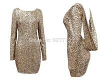 Sexy Dencer Slim Club wear Bling Full Sequins Bodycon Sheath Party Dress Dence U Back