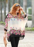 5837 fashion 2014 summer  print tops casual batwing sleeve o-neck shirts multi colors plus size women chiffon blouses