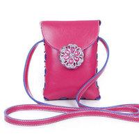 Factory Price 2014 Fashion Women's Messenger Bag Rhinestone Flower Phone Bag 8 Colors Small Bags BB0922