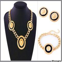 3 pcs Vintage Chain Jewelry set Gold Chain Necklaces Pendants Stud Earrings Bracelets Animal Punk Jewelry sets for women
