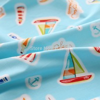 FREE SHIPPING 1 meter of curtain cloth baby bedding cartoon 100% cotton cloth cotton twill fabric small boat