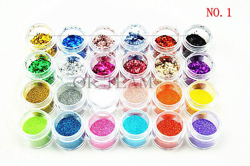 Free Shipping 2014 New 1set 24Colors Nail Art Tool Kit Acrylic UV Powder Make up Metal Shiny Crush Glitter Dust(China (Mainland))