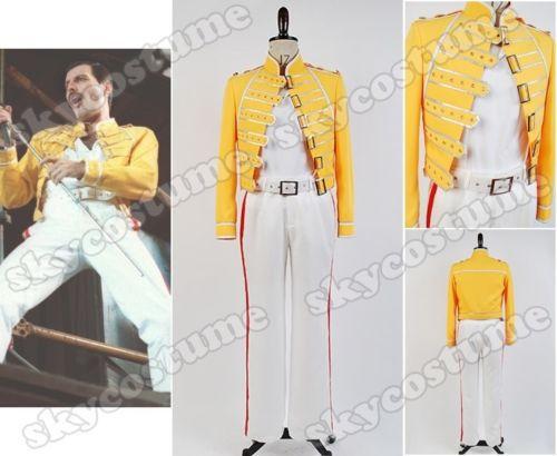 Queen Lead Vocals Freddie Mercury Men Yellow Jacket Coat White Pant Costume Cosplay(China (Mainland))