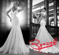 RBC 642 Sexy Backless Cap Sleeve Wedding Dress Appliques Beading Gowns Mermaid Court Train Galia Lahav 2014