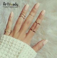 Artilady fashion gold plated 5 pcs stacking midi rings charm leaf midi ring women jewelry