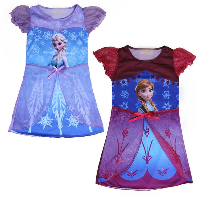 2015 Princess Elsa dress Anna casual dresses Elsa bikini girls swimsuit cinderella dress kids night gowns children sleepwear(China (Mainland))