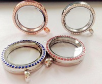 Wholesale - 8PCS 30mm MIXED 4styles round magnetic glass floating charm locket Zinc Alloy+pink Rhinestone (chains included for f