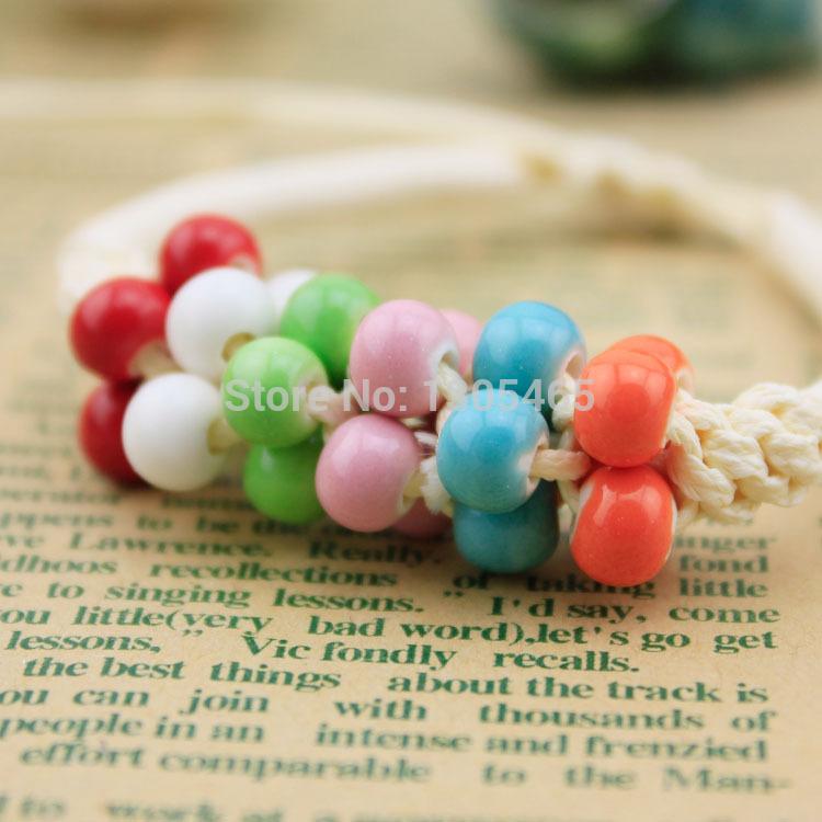 Diy handmade ceramic beads knitted bracelet jewelry honey birthday gift plaid shop(China (Mainland))