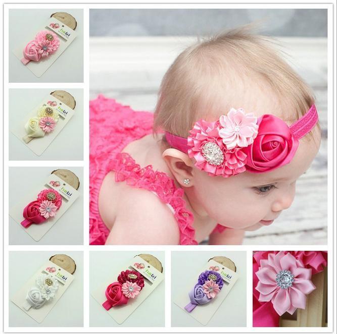 2014 newest hot pink rose headband infant girls flower headband hairband kid baby children accessories boutique hair bows(China (Mainland))