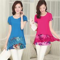free shipping 2014 summer short-sleeve lace chiffon shirt loose plus size clothing top t-shirt medium-long