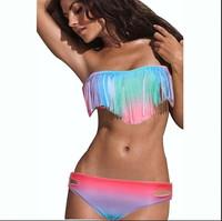 Sexy Women Bikini Summer Swimsuits Padded Boho Fringe Tassel Swimwear Multi-Colors Size S/M/L