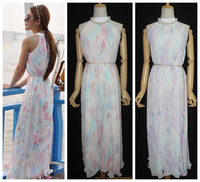 Free Ship With Necklace Belt women's macaroon ice-cream tie-dyeing gradient rainbow off shoulder pleated chiffon maxi long dress