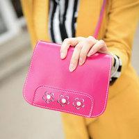 Factory Price 2014 Fashion Women's Messenger Bag Diamond Flower Phone Bag Trendy Small Shoulder Bags BB0922