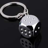 2014 Free shipping 3D dice keychains key rings fashion novelty jewelry keyrings bijoux sliver alloy metal key chains,sl021
