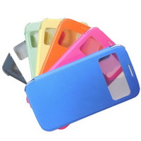 Open Window PU Leather Cover Mobile Phone Bags&Cases For Samsung Galaxy S4 I9500 S4mini