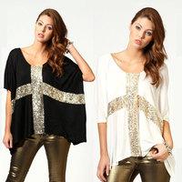2015 Women's Casual Sequin Cross T-shirt Batwing Sleeve Loose Oversized Tops