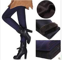 Plus Size Thick Women Winter Fleece Pencil Pant Solid Black Blue Fitness Jeans Pants Women Legging W132