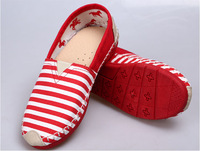 WOMEN Free shipping 2014 women's striped  flat shoes breathable canvas casual shoes