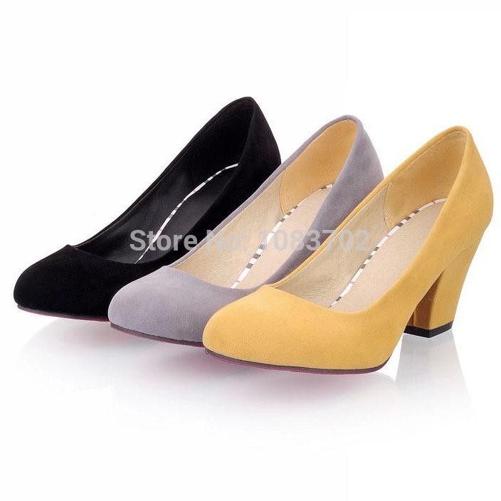 Plain Scrub Round Toe Thick Heel Women Pumps Comfortable Red Bottom Las Office Heels Elegant High Shoes