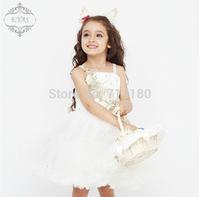 Junior bridesmaid flower sleeveless dressesFree shipping White princess flower girls dress Dress party evening