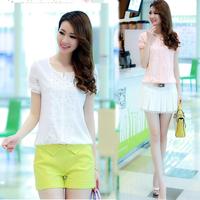 free shipping 2014 summer plus size slim lace cutout chiffon shirt female T-shirt short-sleeve shirt top