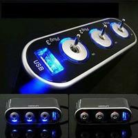 New 3 Way Triple Car Cigarette Lighter Socket Splitter 12V/24V +USB+Switch Tonsee