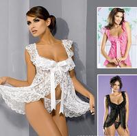 plus size Women's sexy lingerie Charm seduction hollow out Off shoulder club wear lace Cleavage leotard nightgown kimono Chemise