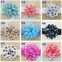 Baby Girls Headband Polka Dot Chiffon Flowers Hairband Infant Crochet Wide Elastic Headband Children Headwear 10pcs HBD14