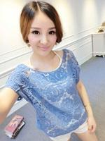 free shipping 2014 t-shirt female short-sleeve shirt lace shirt spaghetti strap twinset y8614