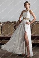 2014 Fashion Grecian Style Evening Dresses Shiny Beads Sequins Chiffon Sexy Side Slit Prom Dresses With Chiffon Evening Dresses