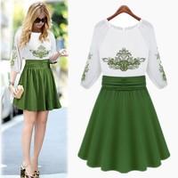 Chinese characteristics Embroidery dress Elegant green Chiffon Dress free shipping