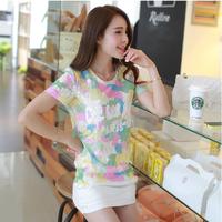 free shipping 2014 summer slim women's plus size cutout lace shirt popular fancy short-sleeve T-shirt female
