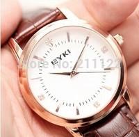 2014 new fashion watches men luxury brand EYKI Leather strap Wrist Quartz  men watch  Black& Coffee Dropshipping for men