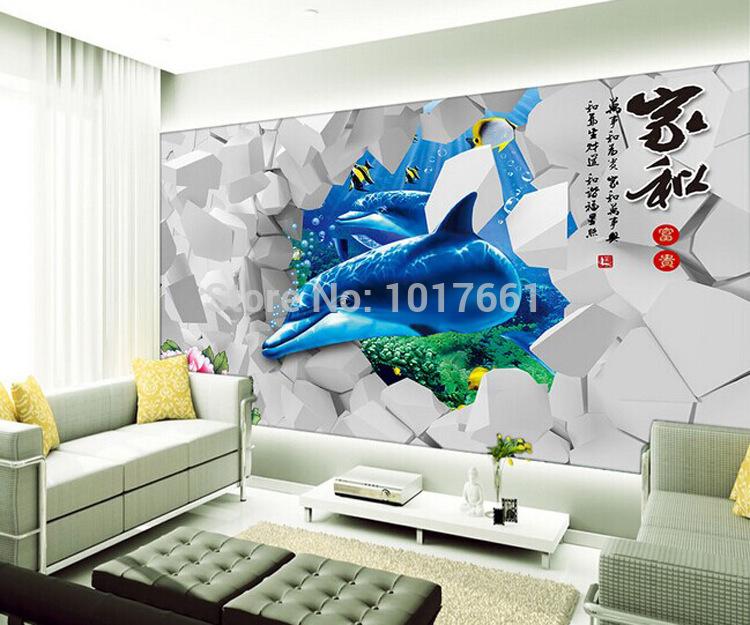 Super trois- dimensionnelleprix transparent décoration stickers muraux stickers muraux 62* 100cm dauphins en double peut enlever stickersductilité