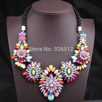 European Gun Black Alloy Ribbon Chain Colorful Resin Gem Crystal Flower Shourouk Statement Necklace