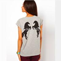 Drop Price 2014 Fashion Style Horses Print T shirt Short Sleeve Slim Shirts Women's Casual T-Shirts Tops Quality Brand TX01