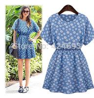 2014New Arrival summer    women denim dress short-sleeved  elasticity waist plus size casual solid slim dress