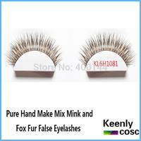 Free Shipping! Wholesale 100% hand make mix mink and fox fur eyelashes eyelashes growth individual package eyelashes extension