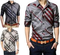205 New Men's 100% Cotton Luxury Casual Slim Fit Stylish Stripes Dress Shirts 3 Colors